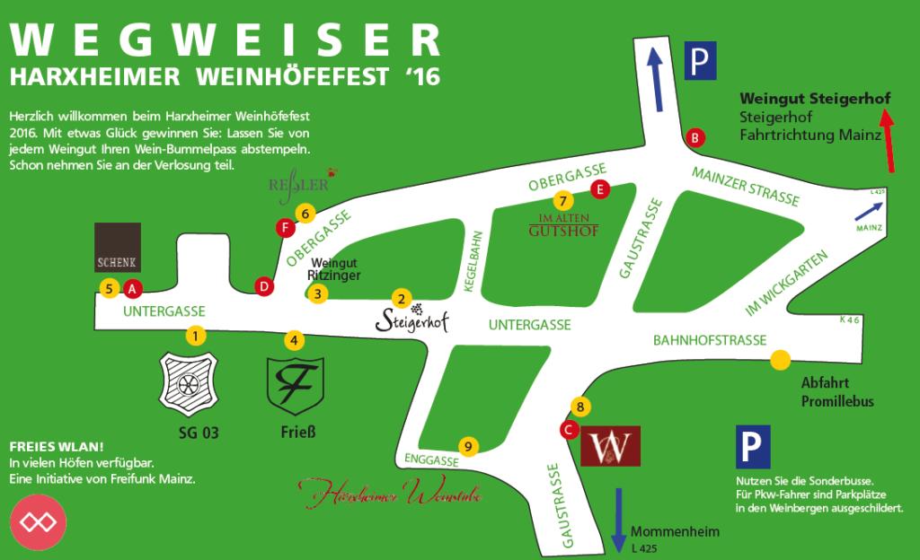 Weinhöfefest Harxheim Wegweiser